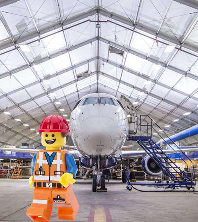 Lego engineer in hangar